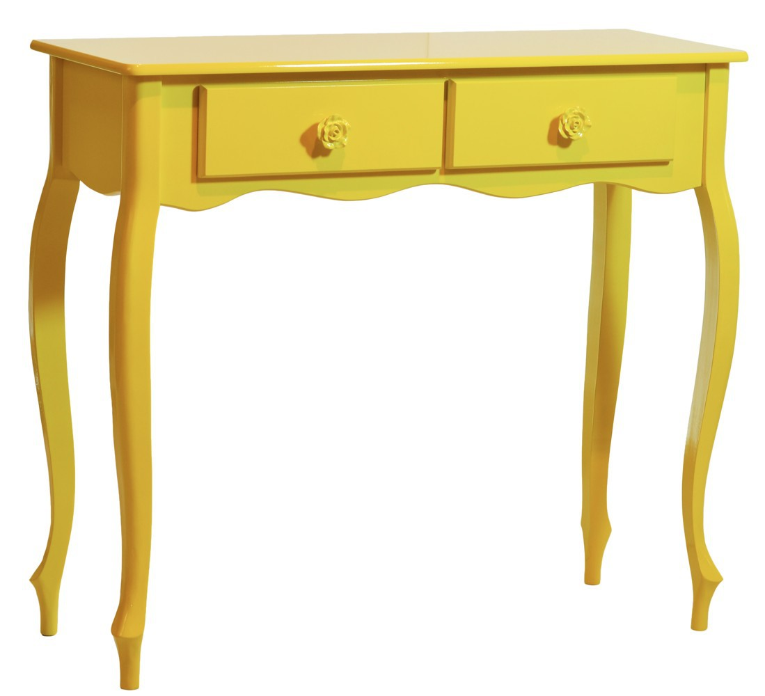 Artesanato Açores ~ Aparador Luis XV Colorido com Duas Gavetas Amarelo