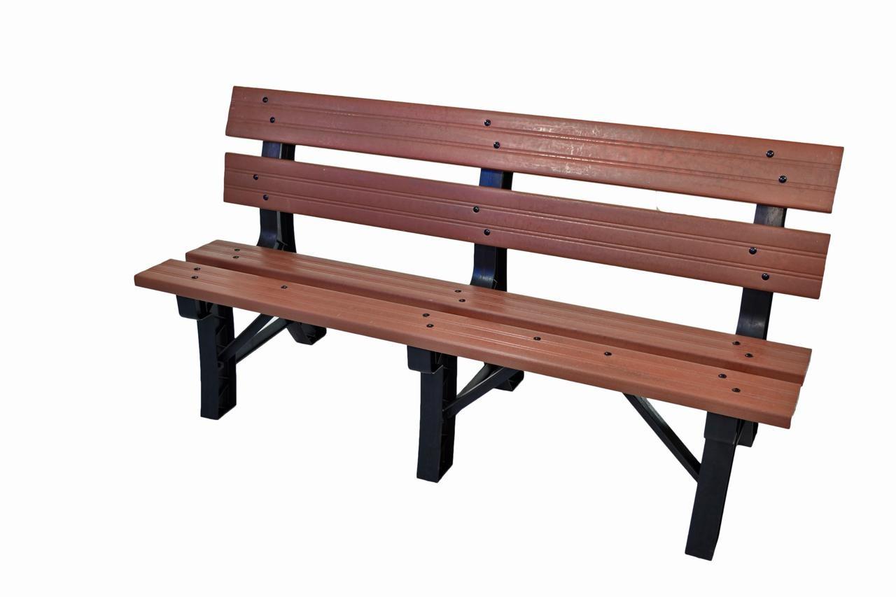 Banco para jardim em madeira pl stica 3 lugares for Bancos de jardin de plastico