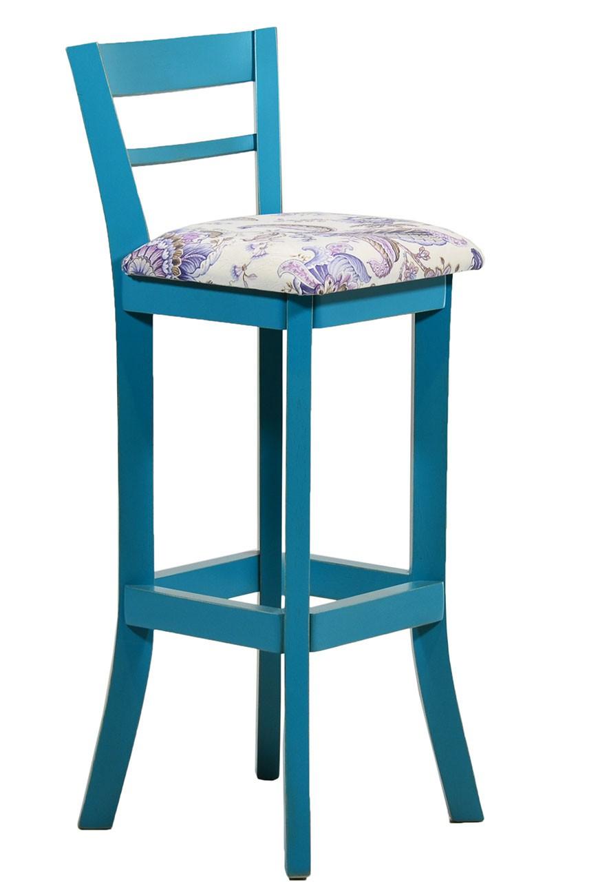 Artesanato Arame ~ Banqueta Alta com Encosto Azul Turquesa Provençal e Floral Lilás