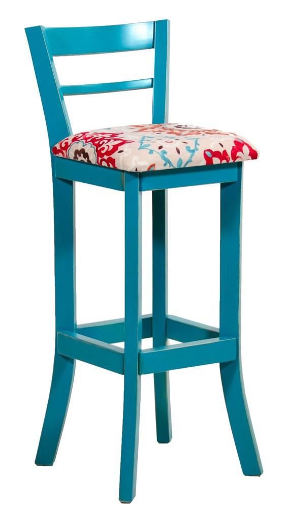 Artesanato Arame ~ Banqueta Alta com Encosto Azul Turquesa Provençal e Floral Vermelho