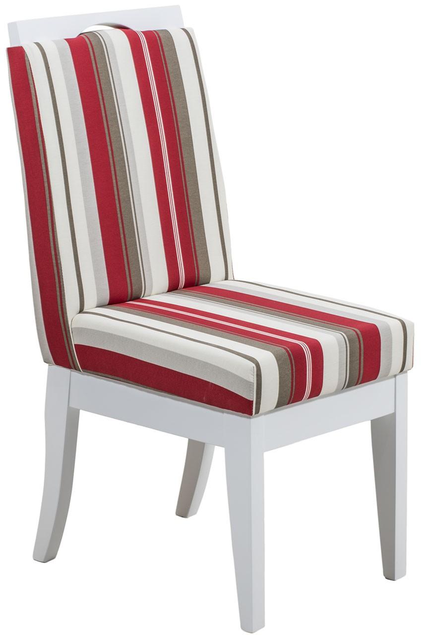 Cadeira Komfort - Branca com Listrado Vermelho + Opções
