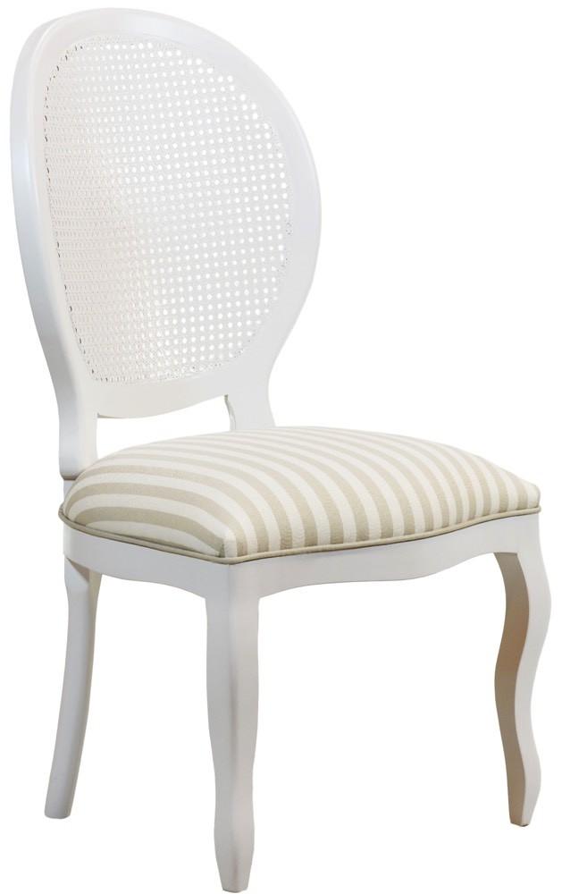 Cadeira Medalhão III Lisa com Encosto em Tela - Branca com Listrado Cinza e Branco