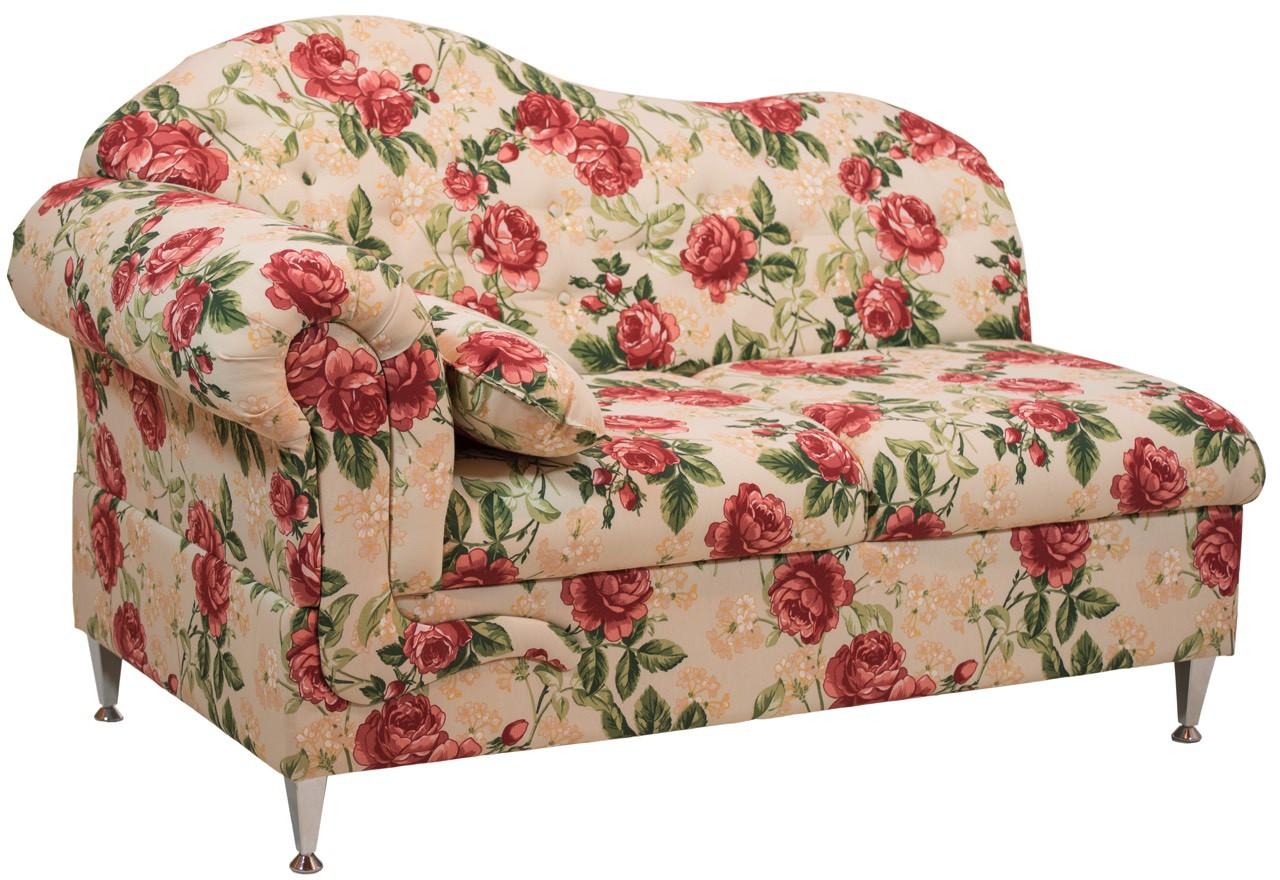 Chaise Longue Estofada 2 Lugares - Floral Vermelho