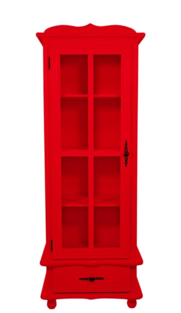 Cristaleira Colorida 1 Porta 1 Gaveta Vermelha