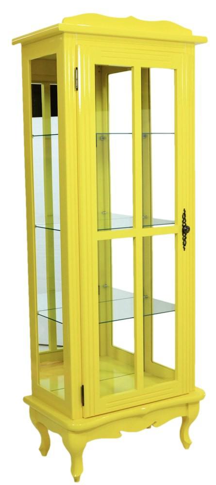 Cristaleira Colorida Amarela 1 Porta Com Aberturas