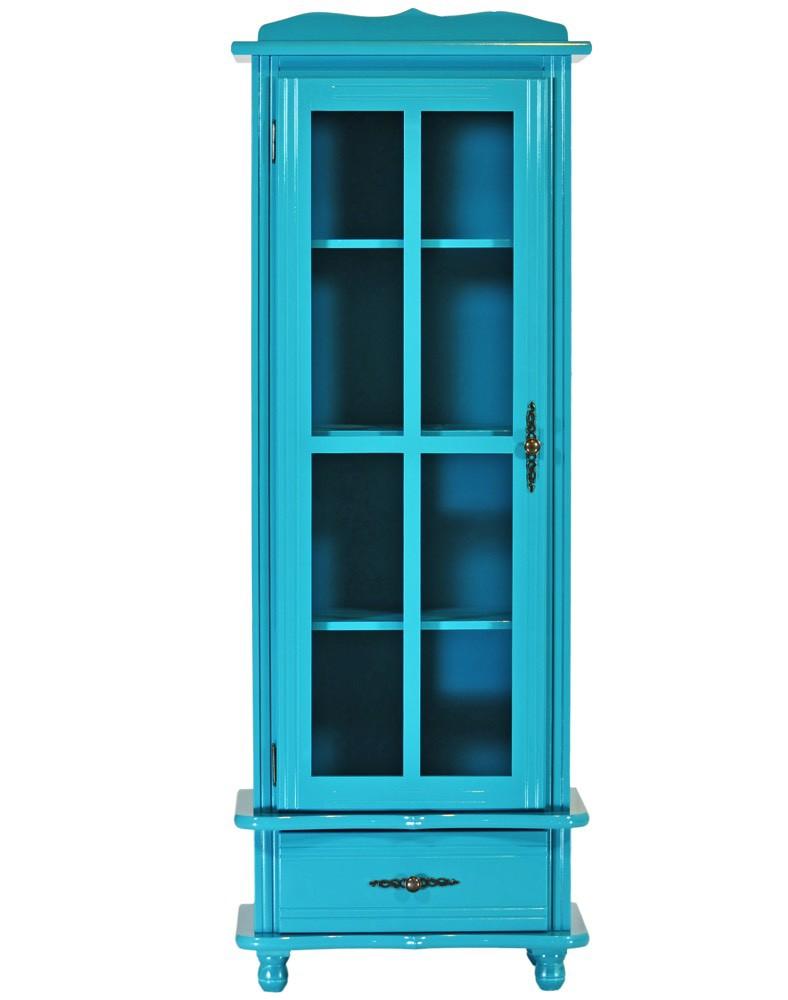 Cristaleira Colorida 1 Porta e 1 Gaveta Azul Turquesa