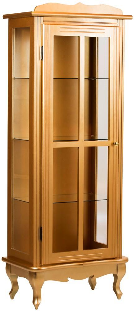 Cristaleira Colorida 1 Porta com Aberturas Laterais - Dourada