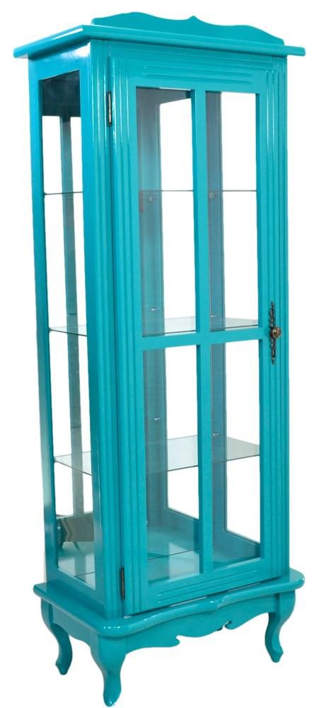 Cristaleira Colorida Azul Turquesa 1 Porta Com Aberturas