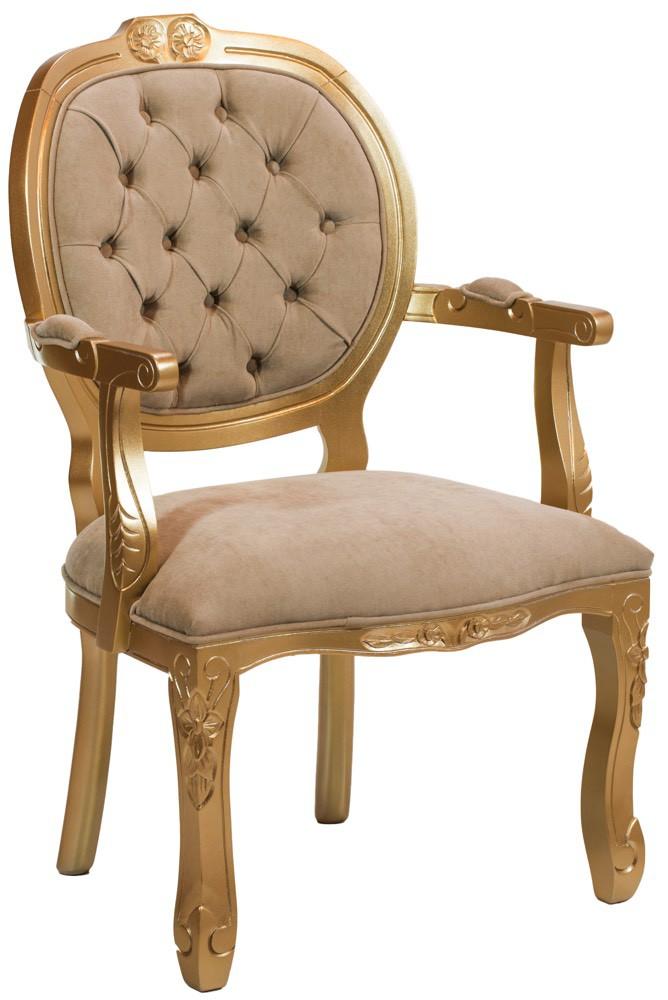 Cadeira Medalhão II Entalhada - Dourado e Cinza Esverdeado