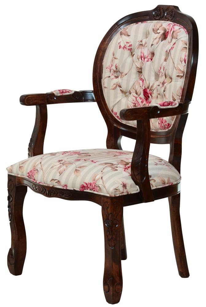 Cadeira Medalhão II Entalhada - Envelhecida com Floral Cereja