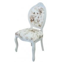 Cadeira Medalhão IV Entalhada - Provençal Branco com Flores Café