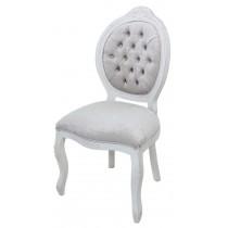 Cadeira Medalhão IV Entalhada - Provençal Branco com Veludo Brilhante Pérola