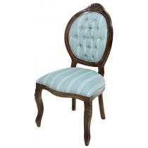 Cadeira Medalhão IV Entalhada - Capuccino e Azul com Listras Brancas