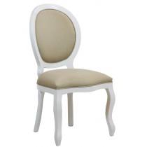 Cadeira Medalhão III Lisa - Branca com Linho Marrom