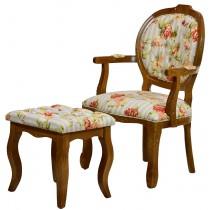 Conjunto Cadeira Medalhão II Entalhada + Puff Liso Mel com Floral Laranja