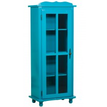 Cristaleira Colorida 1 Porta Sem Gaveta - Azul Turquesa + Cores