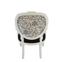 Cadeira Medalhão II Entalhada - Provençal Branca com Preto + Florido com Tons de Cinza