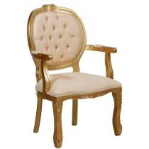 Cadeira Medalhão II Entalhada - Dourado e Bege