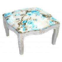 Puff Entalhado Provençal Branco e Azul Florido