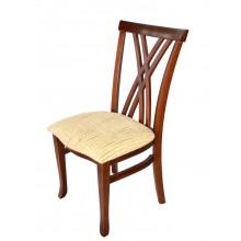 Cadeira Xis Verniz Pinhão e Creme Xadrez