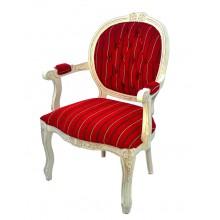 Cadeira Medalhão II Entalhada - Provençal Branca e Vermelha