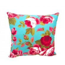 Almofada Floral Azul e Vermelho - 3 Opções de Tamanho