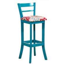 Banqueta Alta com Encosto - Azul Turquesa Provençal e Floral Vermelho