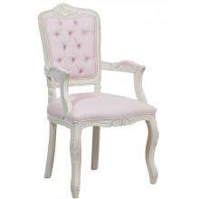 Cadeira Luis XV II Entalhada com Braço - Provençal Branca com Rosa Claro