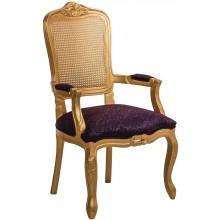 Cadeira Luis XV II Entalhada com Braço e Encosto em Tela - Dourada com Arabesco Roxo + Cores