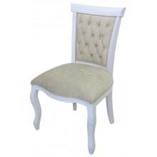Cadeira Luis XV Entalhada sem Braço - Branca com Veludo Amassado Esverdeado