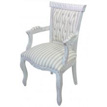 Cadeira Luis XV Entalhada com Braço Branca - Listrado Cinza e Branco