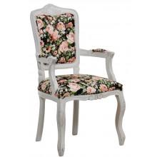 Cadeira Luis XV II Entalhada com Braço - Provençal Branca com Rosas em Fundo Preto