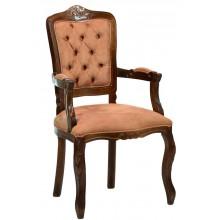 Cadeira Luis XV II Entalhada com Braço - Capuccino e Caramelo