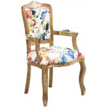Cadeira Luis XV II Entalhada com Braço - Mel com Dourado
