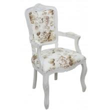 Cadeira Luis XV II Entalhada com Braço - Provençal Branca e Flores Café