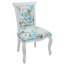 Cadeira Luis XV Entalhada sem Braço - Provençal Branca com Floral Azul