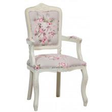 Cadeira Luis XV II Entalhada com Braço - Provençal Branca com Ramo Rosa Centralizado
