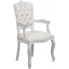 Cadeira Luis XV II Entalhada com Braço - Provençal Branca e Listrado Cinza Claro