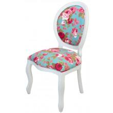 Cadeira Medalhão III Lisa - Branco e Azul Florido
