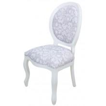 Cadeira Medalhão III Lisa - Branca com Floral Cinza