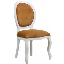 Cadeira Medalhão III Lisa - Branca com Marrom Claro