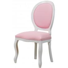 Cadeira Medalhão III Lisa - Branca com Texturizado Rosa