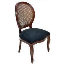 Cadeira Medalhão III Lisa com Encosto em Tela - Capuccino e Veludo Amassado Preto
