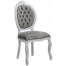 Cadeira Medalhão IV Entalhada - Branca e Cinza