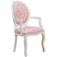 Cadeira Medalhão III Lisa com Braços - Branca com Rosa e Branco Floral + Cores