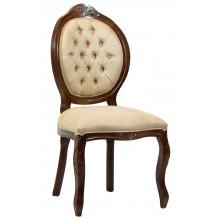 Cadeira Medalhão IV Entalhada - Capuccino e Creme Texturizado