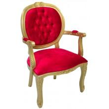 Cadeira Medalhão II Entalhada - Dourado e Vermelho