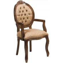 Cadeira Medalhão IV Entalhada com Braço -  Imbuia com Arabesco Marrom