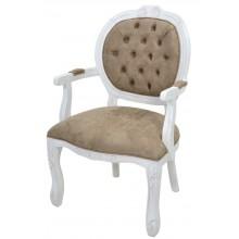 Cadeira Medalhão II Entalhada - Provençal Branco e Suede Marrom