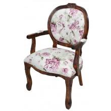 Cadeira Medalhão II Entalhada - Marrom Envelhecido com Floral Lilás
